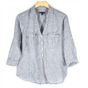 Gap Blue White Striped 3/4 Sleeve V Neck Shirt